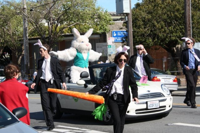 The Security Detail stays close to COTTONTAIL during the Sisters' Parade