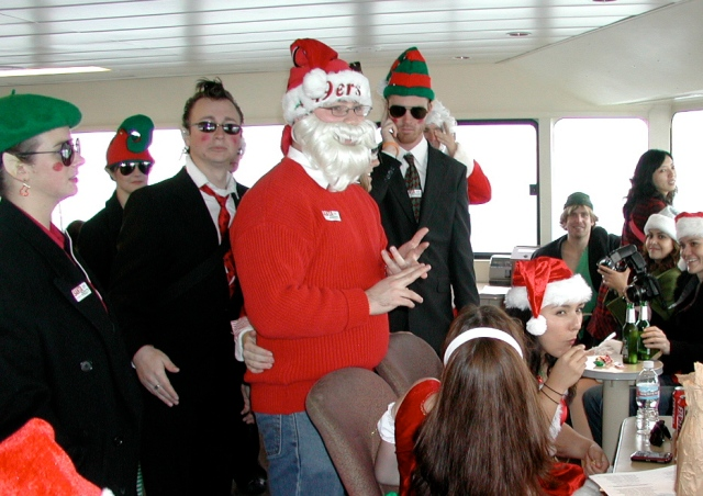 Santa's Little Secret Service agents onboard Santa Ferry One.